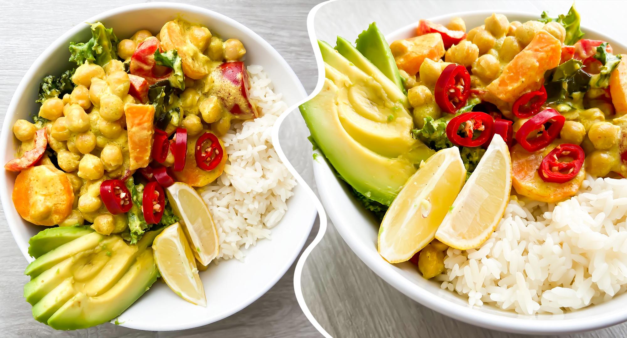 Curry z ciecierzycą, warzywami i ryżem